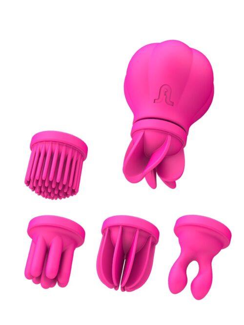 Adrien Lastic Caress: Aufliegevibrator mit Aufsätzen, pink