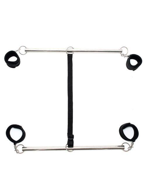 Double Spreader Bar: Doppelspreizstange mit Soft-Fesseln, schwarz/silber