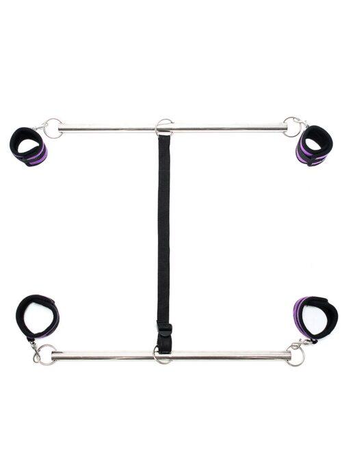 Double Spreader Bar: Doppelspreizstange mit Soft-Fesseln, schwarz/silber/lila