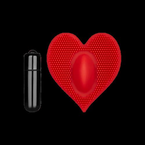 Genopptes Vibro-Herz aus Silikon, 7,5 cm