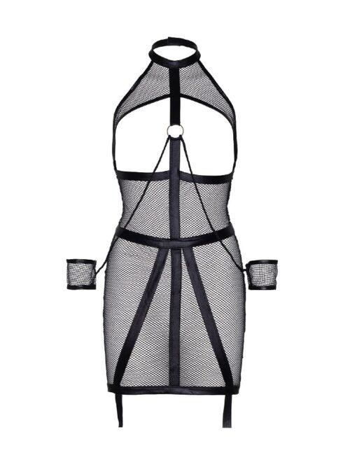 KINK: Wetlook-Netz-Ouvertstrapskleid mit Fesseln, schwarz (M/L)