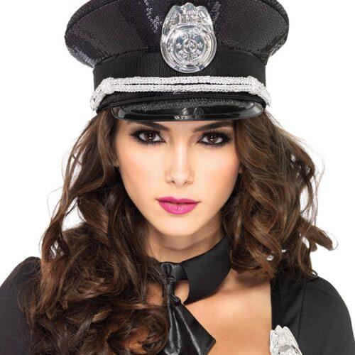 Leg Avenue Polizei-Hut mit Pailletten