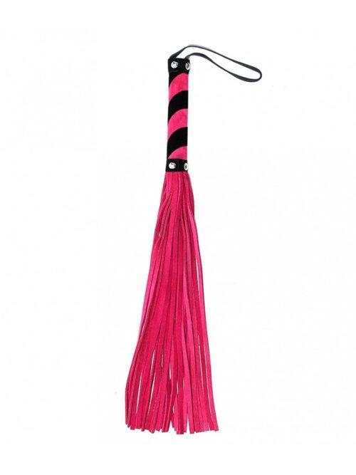 Velourleder-Peitsche (44cm), pink