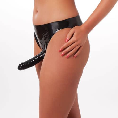 Rimba Latex-Slip mit Innen- und Außendildo